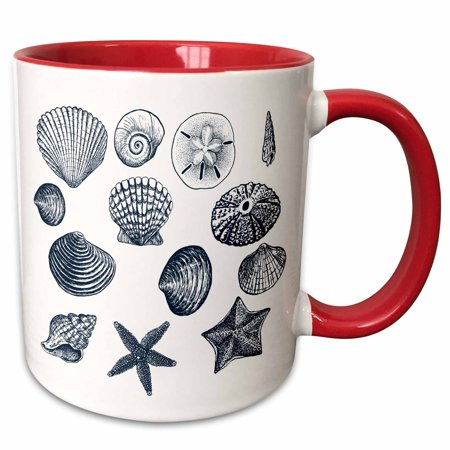 3dRose Blue Sea Shells Nautical beach theme ocean art - Two Tone Red Mug, 11-ounce - Nautical Themed Food Ideas