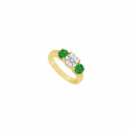Fine Jewelry Vault UBJS941AY14DE-101RS10 Three Stone Emerald & Diamond Ring 14K Yellow Gold, 1.25 CT - Size 10 3 Stone Fine Diamond