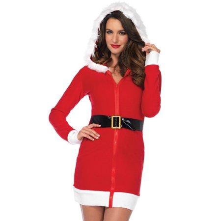 - Leg Avenue Cozy Santa Dress with Belt, Accent and Fur Trimmed Hood