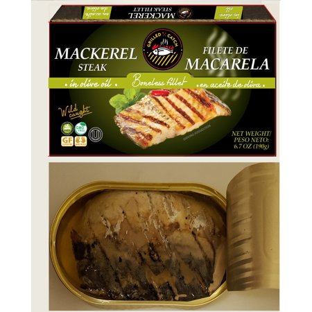 (3 Pack) Grilled Catch Mackerel steak fillet in olive oil 6.7 oz