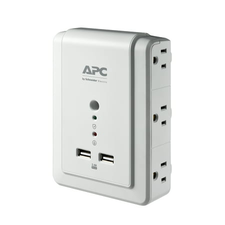 APC 6-Outlet Wall Surge Protector 1080 Joules with USB Charger Ports, SurgeArrest Wall Tap (P6WU2) Apc 6 Outlet Surge Protector