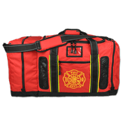 Lightning X Quad-Vent Firefighter Turnout Gear Bag - Top Load w/ Helmet Compartment, Mesh Vents & Maltese Cross - RED