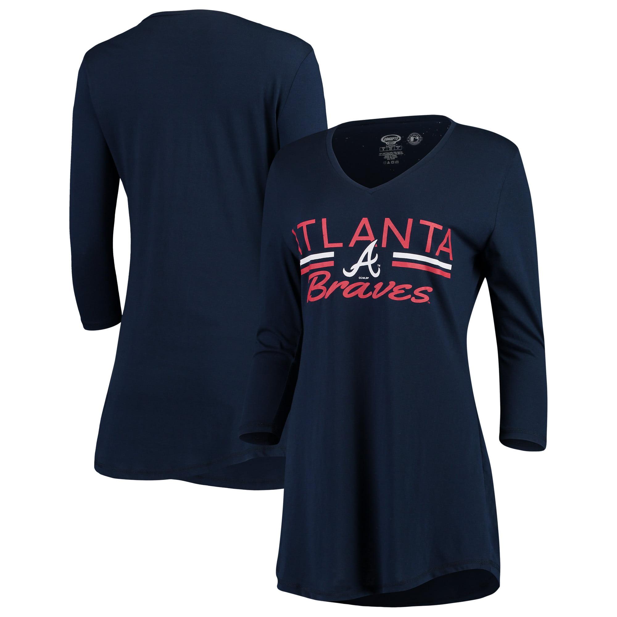 Atlanta Braves Concepts Sport Women's Duo V-Neck Nightshirt - Navy