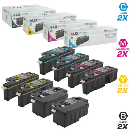 LD Compatible Replacement for Dell Color Laser 1250c, 1350, 1760 High Yield Toner Cartridges: 2 Black, 2 Cyan, 2 Magenta, 2 Yellow, 8-Pack for 1355cn, 1355cnw, 1755nf, 1755nfw, C1760nw, C1765nf Q2682a Compatible Yellow Laser