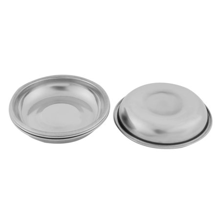 Home Metal Round Shaped Soy Sauce Spice Dipping Serving Dish Silver Tone 4 Pcs