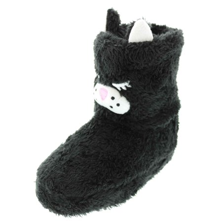 Chatties Toddler Furry Animal Face Slipper Booties (Large 9/10, Black Kitty (Cat Face Type)