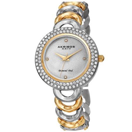 Akribos XXIV  Ladies Diamond Glitter Dial Two-tone Semi-circle Link Bracelet Watch (Akribos Watch Links)