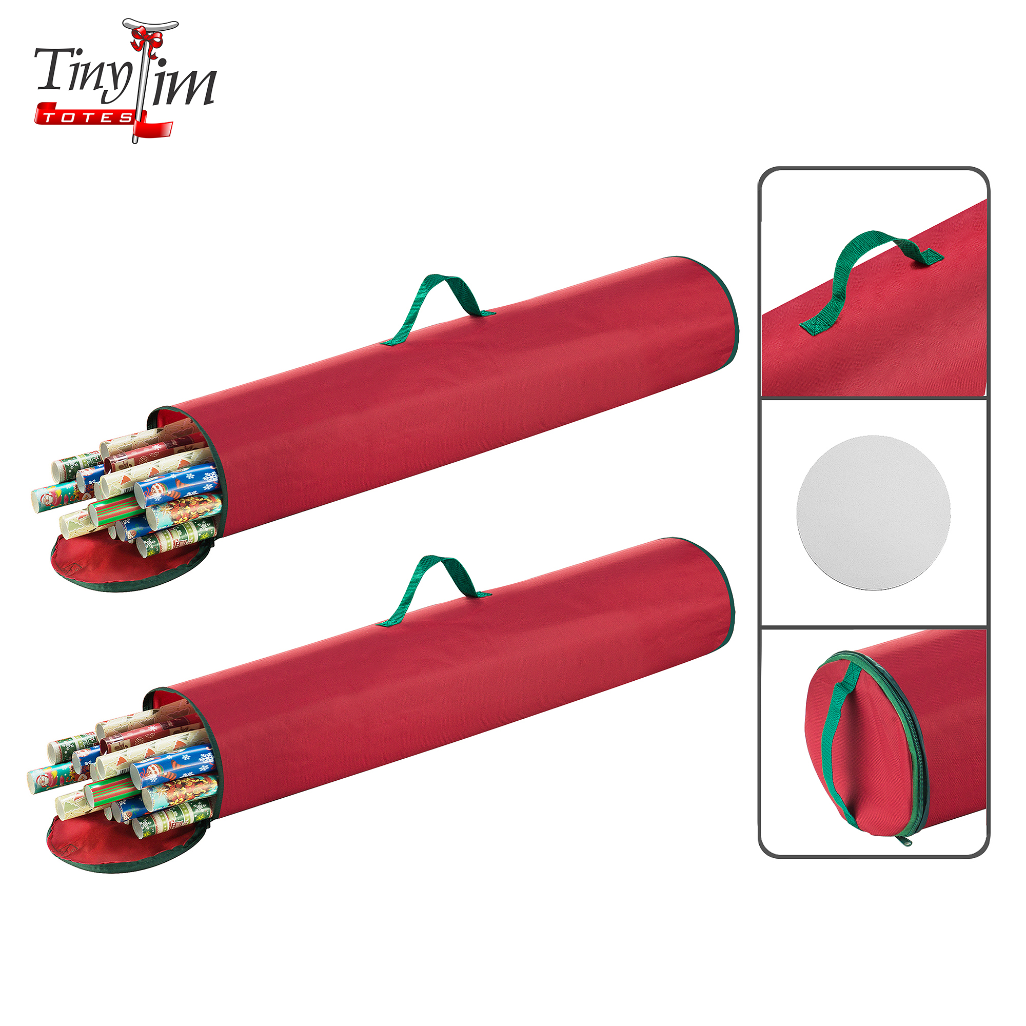 Tiny Tim Totes | Premium 2-Pack | 40.5 inch Wrapping Paper Storage Bag | Canvas | Red