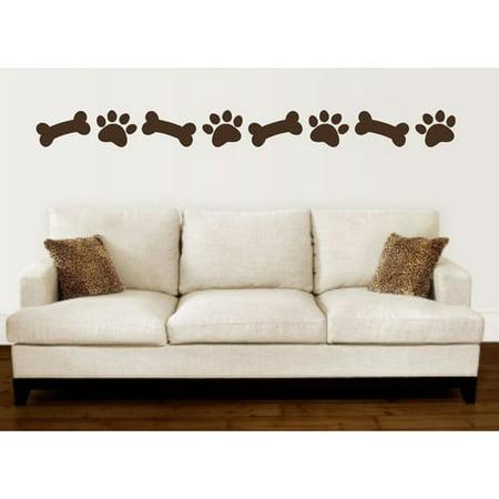 Bones Decal (Enchantingly Elegant Paw Prints Dog Bones Border Vinyl Wall)