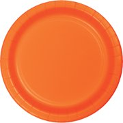9 inch Round Paper Dinner Plates Sunkissed Orange,Pack of 24 EA