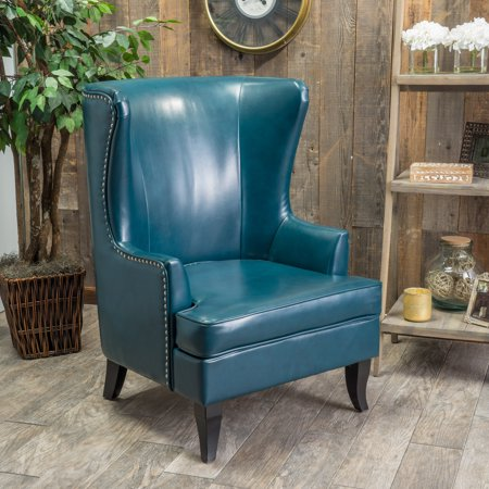 Noble House Casselberry High Back Wing Teal Bonded Leather Chair ()