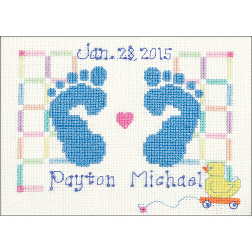 """Baby Feet Counted Cross Stitch Kit, 7"""" x 5"""", 14-Count"""