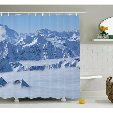 Farmhouse Decor Shower Curtain Fantasy Dream Land Over Austrian Alps Summit Climate Skiing Snowfall Fir