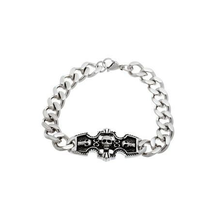Men's Stainless Steel Black Enamel Skull Bracelet ()