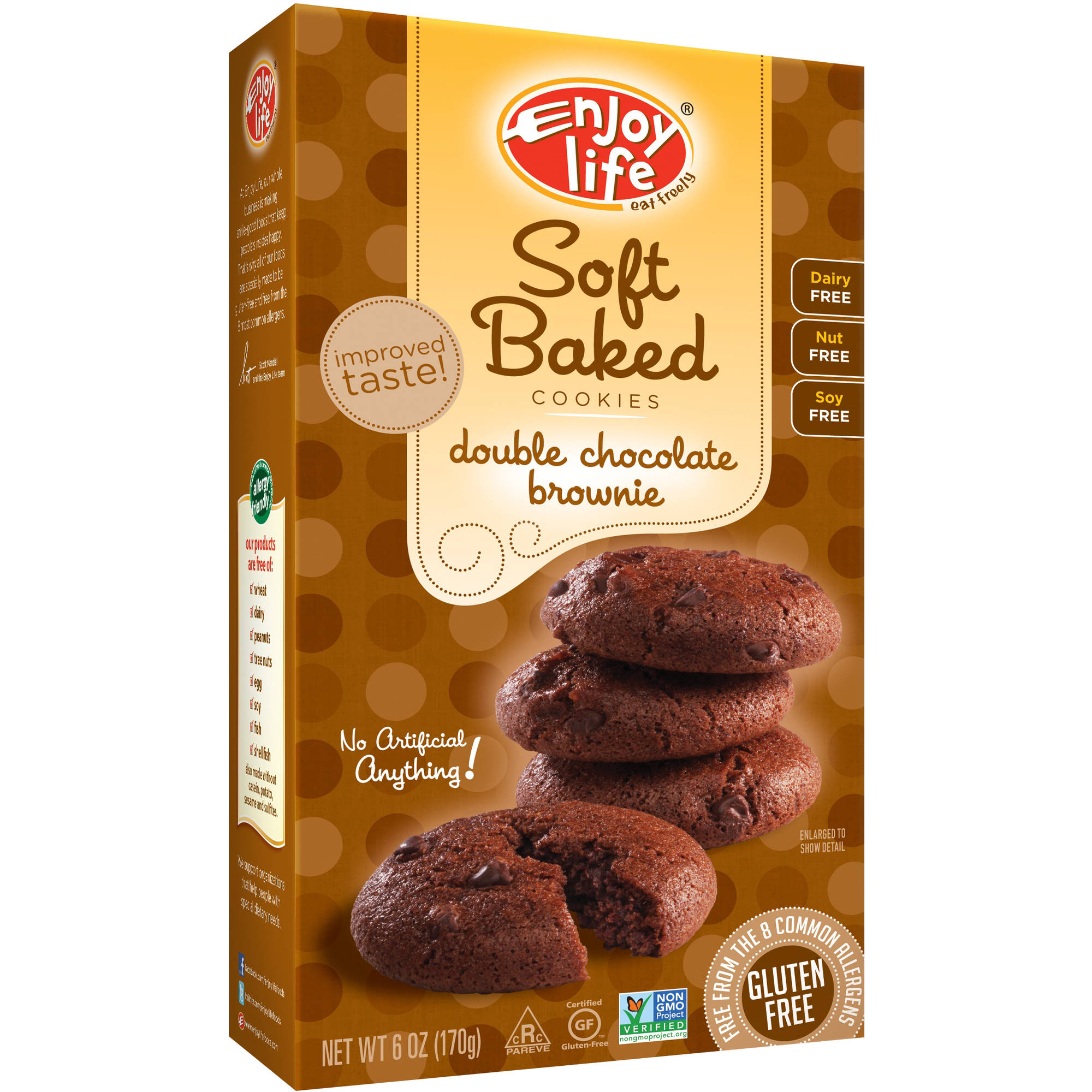 Enjoy Life Gluten-Free, Nut-Free Double Chocolate Brownie Soft Baked Cookies, 6 oz (Pack of 6)