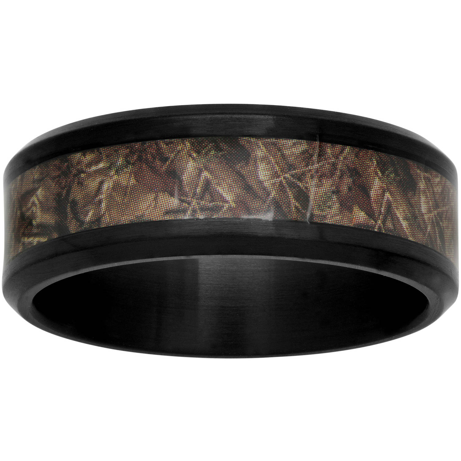 Men's 8mm Black IP Stainless Steel Band with Camo Inlay