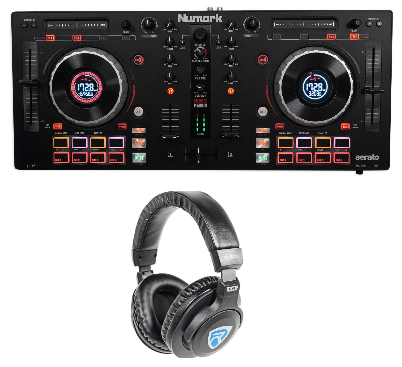 Numark Mixtrack Platinum 4-Ch Serato DJ Controller+Jog Wheel Display+Headphones
