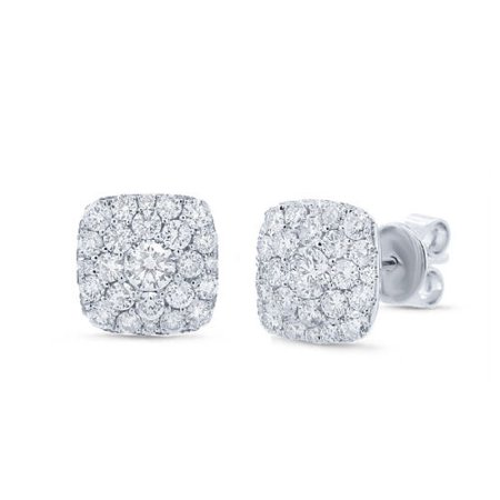 1.02CT 14K White Gold Natural Round Diamond Cluster Cushion Square Stud Earrings