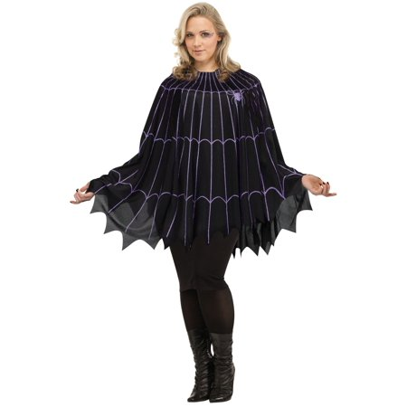 Halloween Express Plus Size Costumes (Spider Web Poncho Black/Purple Solid Pack Plus Size Halloween Costume)