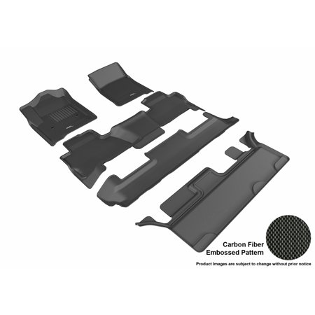 3D MAXpider 2015-2017 Chevrolet Tahoe Bench Seating Front, Second, & Third Row Set All Weather Floor Mats in Black with Carbon Fiber