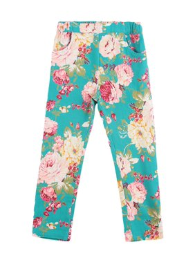 Richie House Girls' Teal Flowerprint Stretch Jeans RH0323