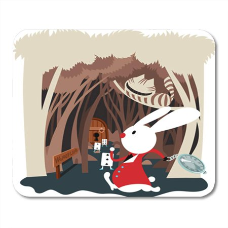 LADDKE Scene in Fairy Tale of Alice Adventures Wonderland White Mousepad Mouse Pad Mouse Mat 9x10 inch (Mousepad Alice In Wonderland)