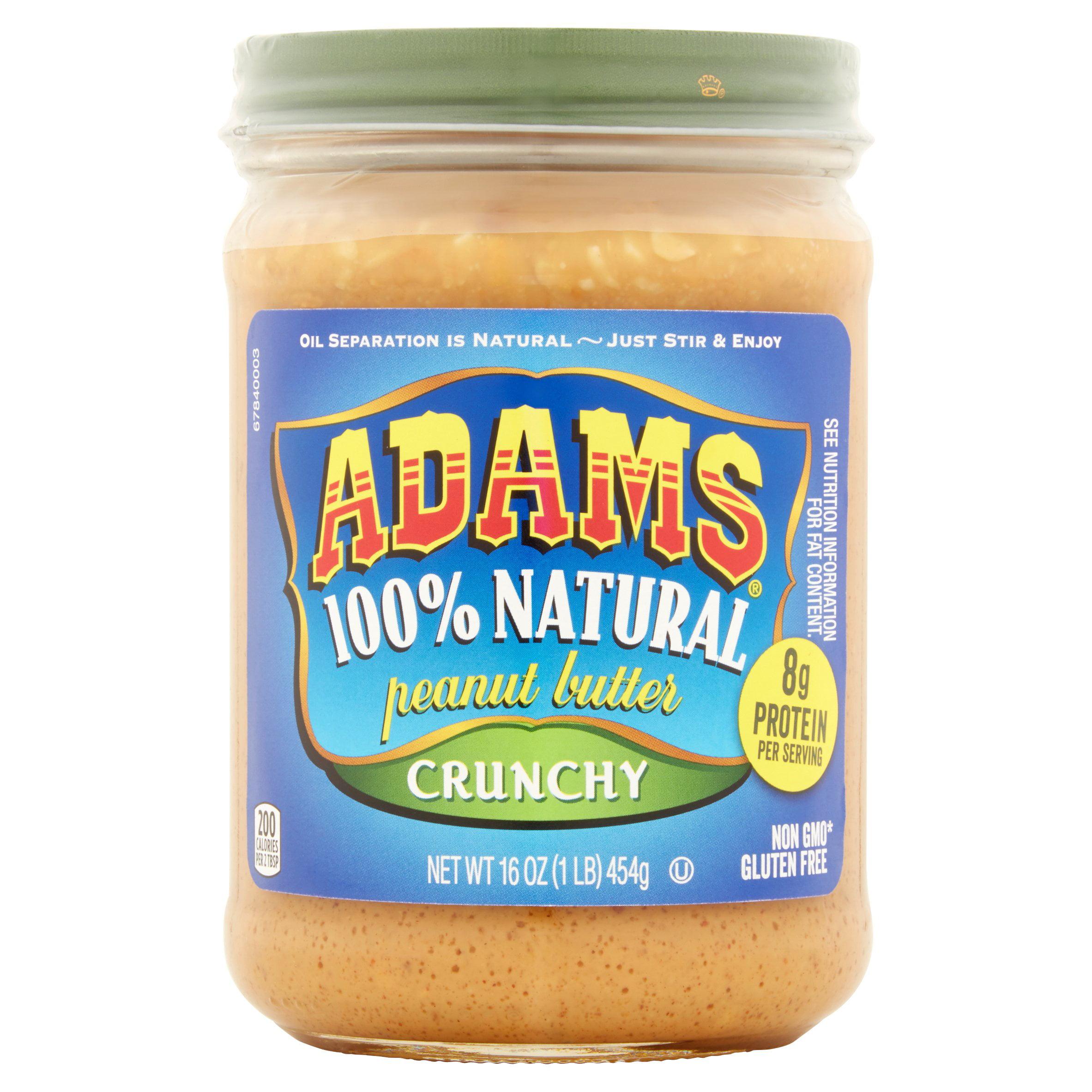 Adams 100% Natural Crunchy Peanut Butter, 16 oz