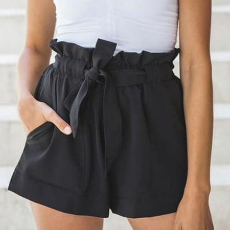 Women High Waist Casual Summer Beach Short Hot Pants Ruffle Shorts Trousers Black Size S