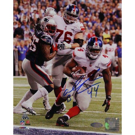 "Ahmad Bradshaw Signed Super Bowl XLVI Handoff Vertical 16"" x 20"" Photo with SB XLVI Champs Inscription by"