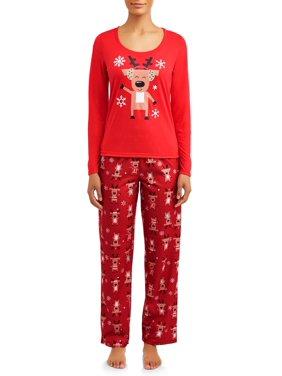 Matching Family Christmas Pajamas Womens and Womens Plus 2-Piece Reindeer Set