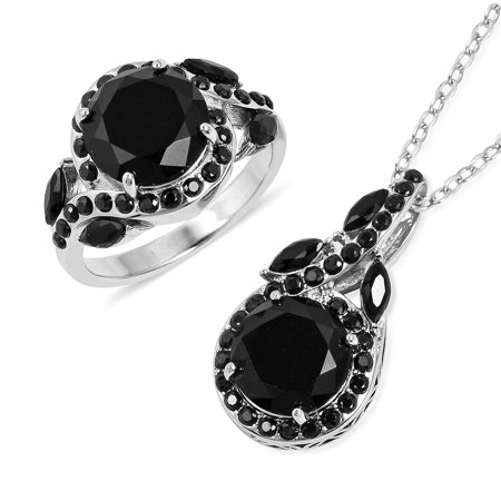 Back Jewelry (Statement Ring Chain Pendant Necklace Stainless Steel Round Black Cubic Zirconia CZ Gift Jewelry for Women Size 8 & 20