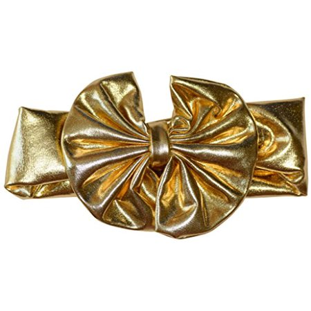 08172c02e34b4 Unique Baby Baby-Girls Metallic Headband with Bow (Gold)