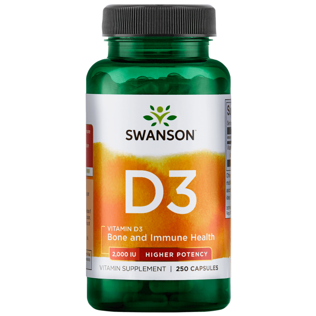 Swanson Vitamin D3 - Higher Potency 2,000 Iu (50 mcg) 250 Caps