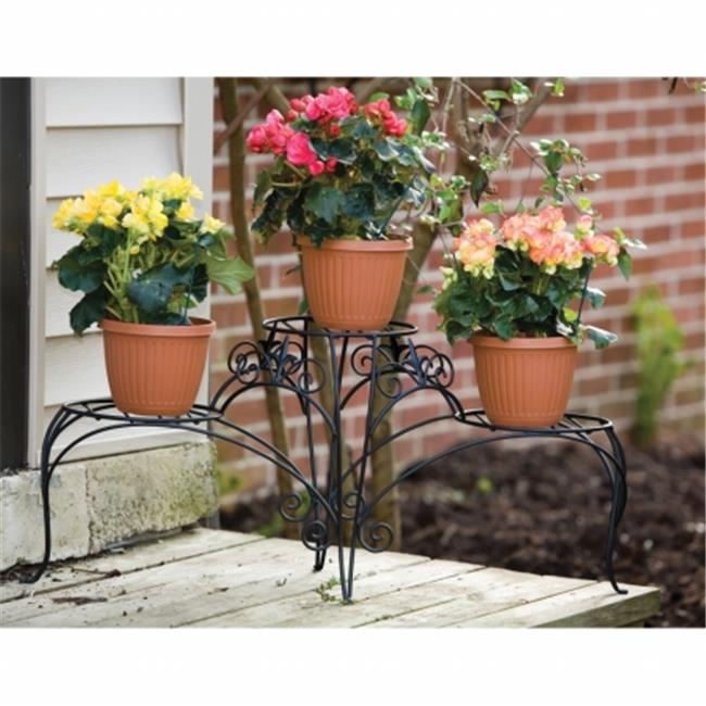 Panacea PAN89178 Panacea 3 Tiered Plant Stand With Finial Black