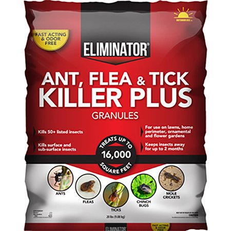 Bait Granules - Eliminator Ant, Flea and Tick Killer Plus Outdoor, Yard Granules, 20 Pounds
