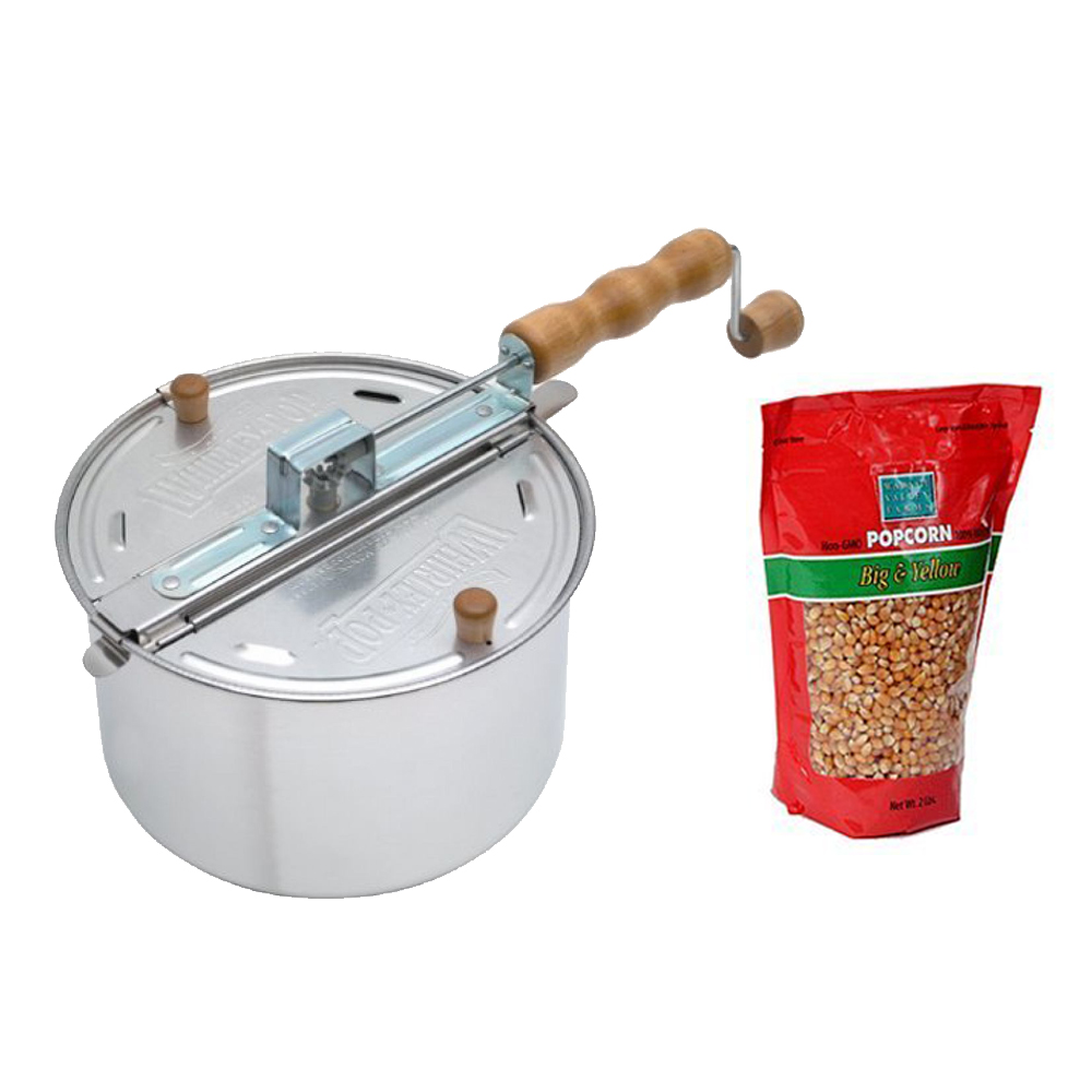 Wabash Valley Farms Whirley Pop Stovetop Popcorn Popper (Silver) & Popping Corn
