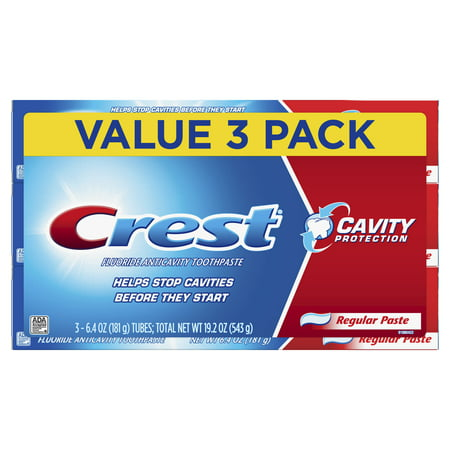 Crest Cavity Protection Regular Toothpaste, 6.4 oz, Pack of 3