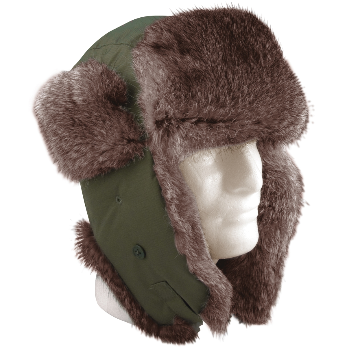 New, Vintage Flyers Winter Hat, Olive w/Brown Fur