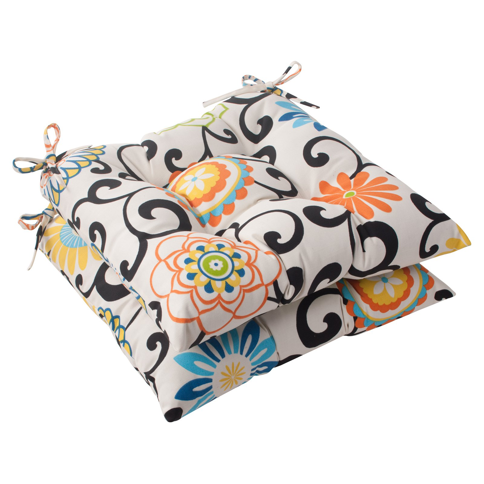 Pillow Perfect Pom Pom Play Wrought Iron Seat Cushion - Set of 2