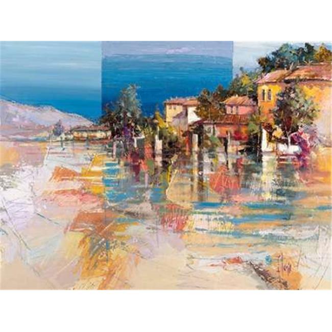 Tangletown Fine Art Paese sul lago by Luigi Florio Poster Frame - 25 x 33 x 1.5 in.