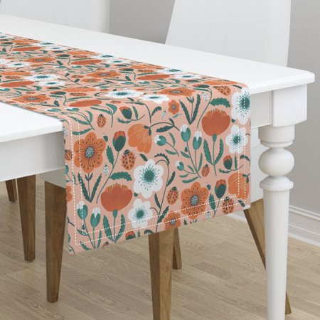 Table Runner Poppy Flowers Blush Floral Ladybug Summer Retro Mod Cotton Sateen