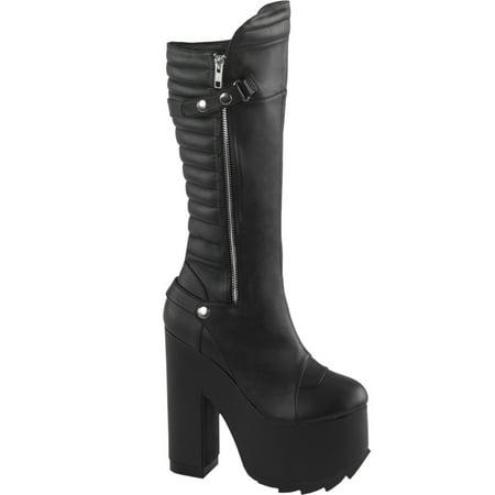 80b8928e929 SummitFashions - Womens Chunky Platform Boots Black Vegan Leather Knee High Boots  6 1/4 In Heel - Walmart.com