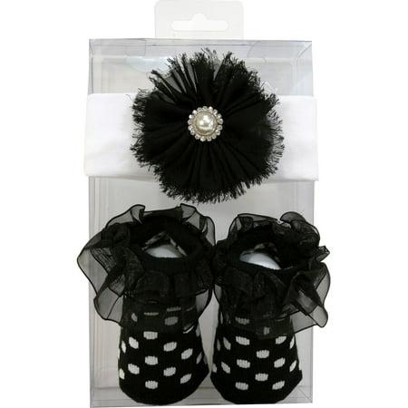 Fleur noire Bandeau / Set Sock - image 2 de 2