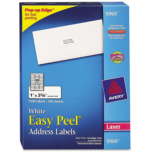 "Avery 5960 Easy Peel White Address Labels for Laser Printers, 1"" x 2-5/8"", 7500 Labels/Pack"