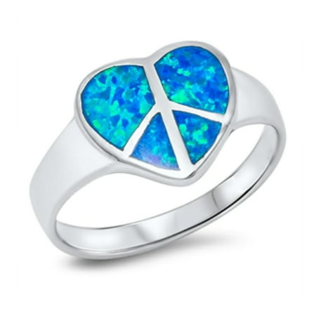925 Sterling Silver Heart Shaped Peace Sign Lab opal Gem Ring