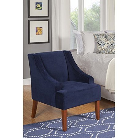 Navy Swoop Velvet Cushioned Living Room Accent Arm Chair W