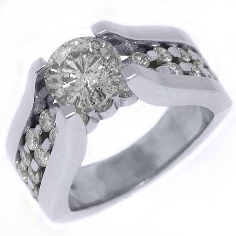 18k White Gold 2.73 Carats Round Tension Set Diamond Engagement Ring