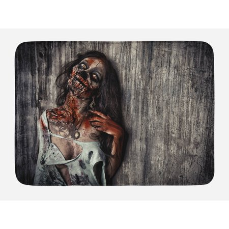 Zombie Bath Mat, Angry Dead Woman Sacrifice Fantasy Design Mystic Night Halloween Image, Non-Slip Plush Mat Bathroom Kitchen Laundry Room Decor, 29.5 X 17.5 Inches, Dark Taupe Peach Red, Ambesonne
