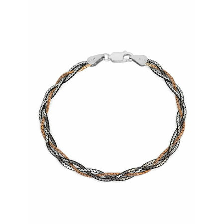 Black Braid Bracelet (Sterling Silver, Black Plated and 18kt Rose Gold Over Sterling Silver Braid Bracelet, 7.25