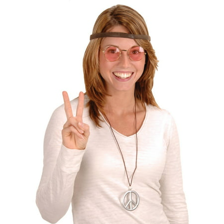 Club Pack of 12 Retro 60's Hippie Headband, Glasses and Peace Sign Necklace Costume Accessory Kits](Peace Sign Headband)